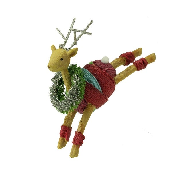 """4.5"""" Colorful Striped Prancing Reindeer with Wreath Christmas Ornament - brown"""