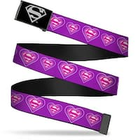 Superman Reverse Brushed Silver  Cam Superman Logo In Heart Purple Web Belt