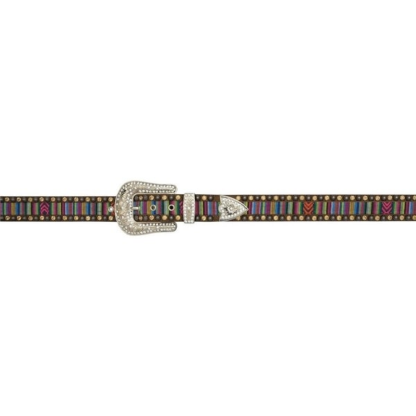 Angel Ranch Western Belt Womens Fabric Inlay Bling Brown Purple