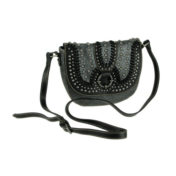 Montana West Concho Collection Floral Embossed Crossbody Saddle Bag. Opens flyout.