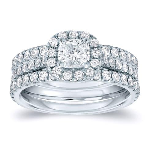 Auriya 1 1/4ctw Cushion-cut Halo Diamond Engagement Ring 3pc Set 14k Gold