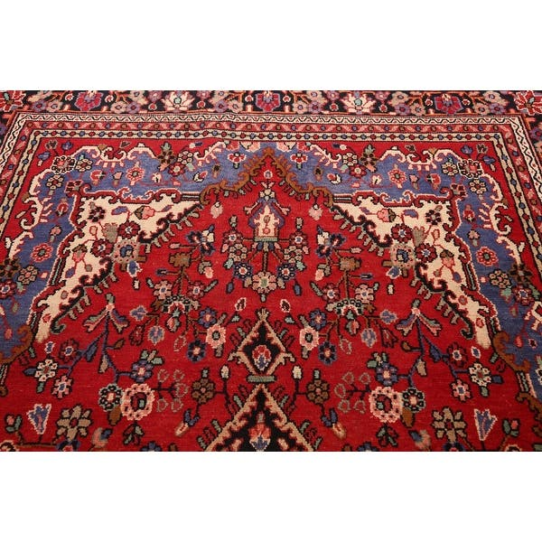 Floral Hamedan Persian Red Living Room Area Rug Wool Hand Knotted 6 7 X 9 8 On Sale Overstock 31502011
