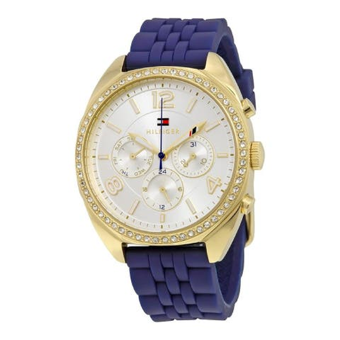 Tommy Hilfiger Men's 1781570 'Mia' Multi-Function Crystal Blue Silicone Watch - Silver
