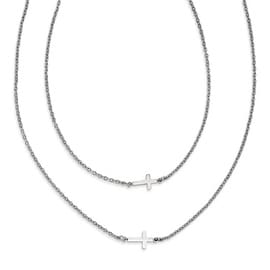 Chisel Stainless Steel Double Sideways Crosses Layered Necklace (2 mm) - 16.5 in