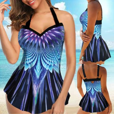 Women Plus Size Sexy Spaghetti Strap V Neck Print Top Briefs Swimwear Tankini Set
