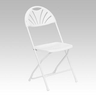 Rivera Heavy Duty Plastic Folding Chair, White, Fan Back