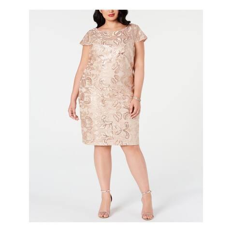 CALVIN KLEIN Beige Short Sleeve Knee Length Sheath Dress Size 20W