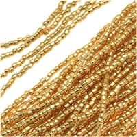Czech Tri-Cut Seed Beads Size 12/0 - Gold (1 Strand/360 Beads)