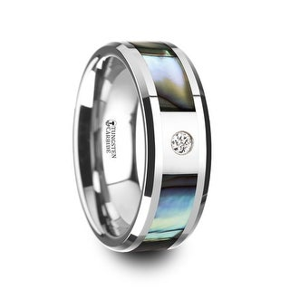 THORSTEN - HONOLULU Mother of Pearl Inlay Tungsten Carbide Ring with Beveled Edges and White Diamond