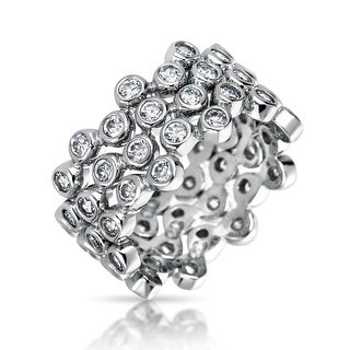3 Set Geometric Circle Cubic Zirconia Wide Bezel Bubble Stackable Band Ring Set For Women 925 Sterling Silver