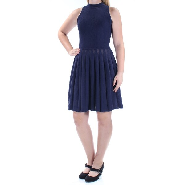 94f89021f08 Shop RACHEL ROY Womens Navy Textured Sleeveless Turtle Neck Above The Knee  Knife Pleated Dress Size  M - On Sale - Free Shipping On Orders Over  45 ...