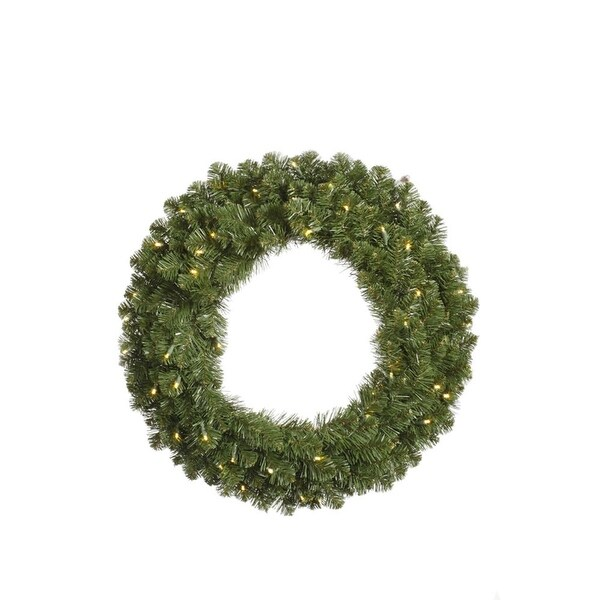 "30"" Pre-Lit Grand Teton Artificial Christmas Wreath - Warm Clear LED Lights - green"