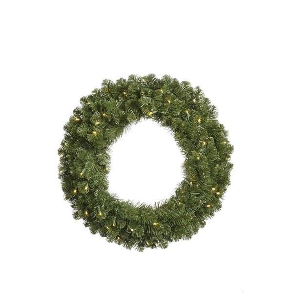"36"" Pre-Lit Grand Teton Artificial Christmas Wreath - Clear Dura-Lit Lights - green"