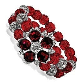 Silvertone Red and White Crystal Red Bead Stretch Bracelet - 7in