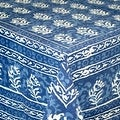 Handmade Dabu Floral Block Print 100% Cotton Tablecloth Indigo Blue Rectangular Square Round - Thumbnail 8