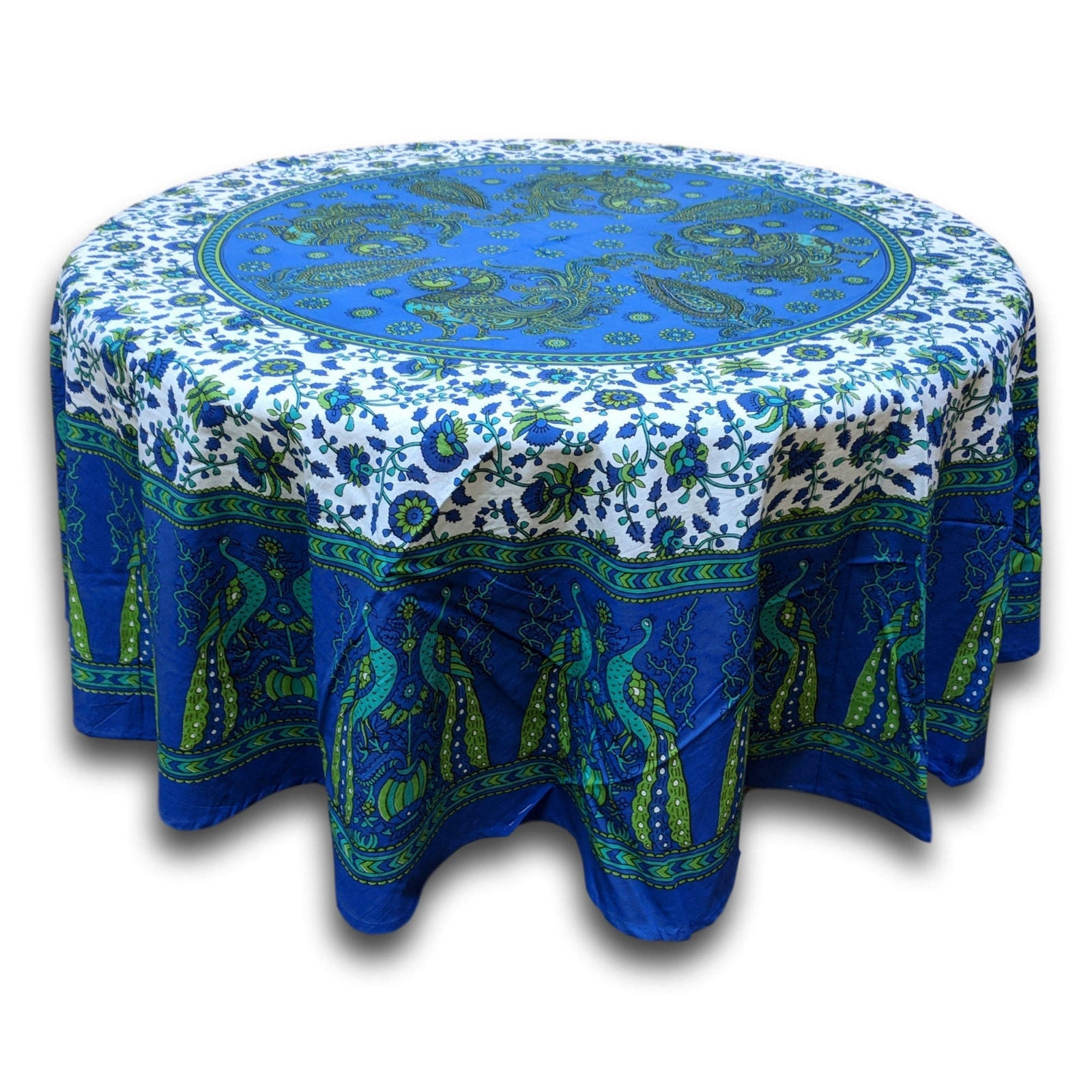 Cotton Peacock Floral Tablecloth Round Blue Green Red Tan - 72 Inches - Thumbnail 1