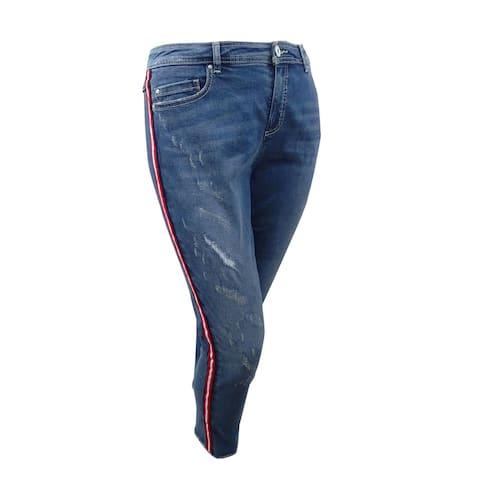 INC International Concepts Women's Plus Size Cropped Racing-Stripe Jeans