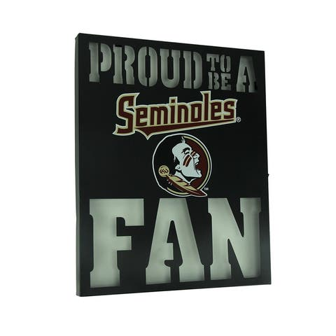 Proud To Be A Florida State Seminoles Fan LED Lighted Cutout Metal Wall Sign - 15 X 12 X 1 inches