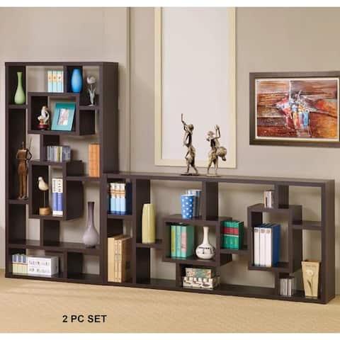Modern Mosaic Design Cappuccino Bookcase Display