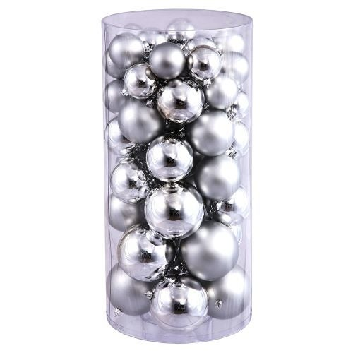 Christmas at Winterland WL-ORNTUBE-80-SLV 3-Inch Plastic Shatterproof Silver Ball Ornaments (Package of 100)