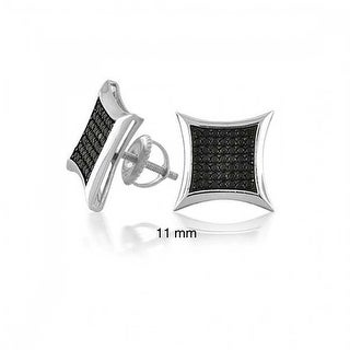 Bling Jewelry 925 Silver Micropave Black Kite CZ Stud Mens Earrings 11mm