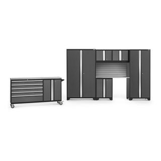 """NewAge Products Bold 3.0 182"""" W x 18"""" D Gray 7 Piece Set"""
