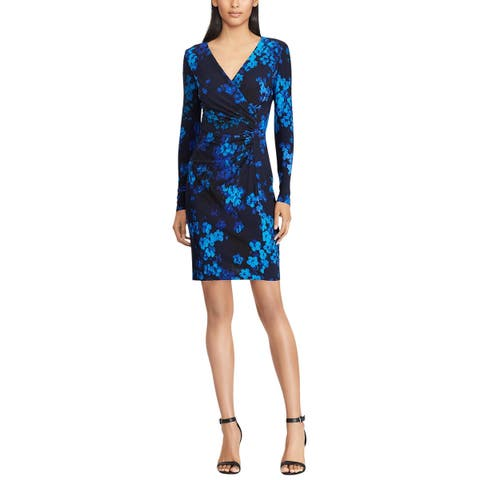American Living By Ralph Lauren Womens Floral-Print Jersey Dress 16 Navy Multi