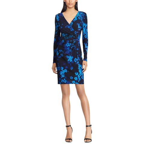 American Living By Ralph Lauren Womens Floral-Print Jersey Dress 8 Navy Multi