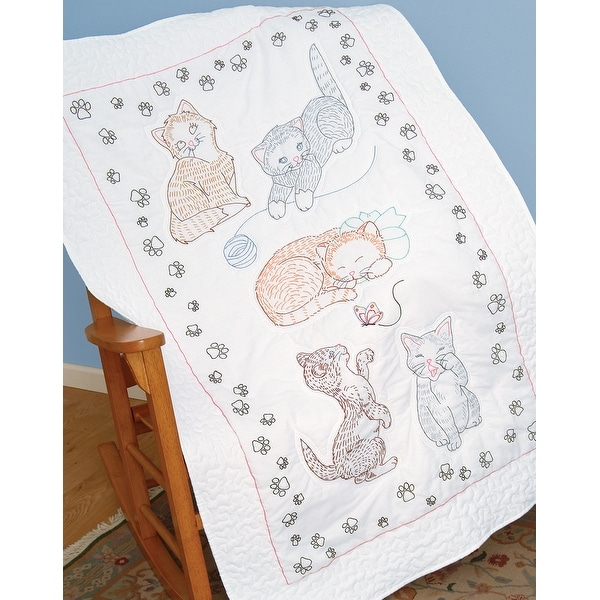 "Stamped White Lap Quilt Top 40""X60""-Kitty Cats"