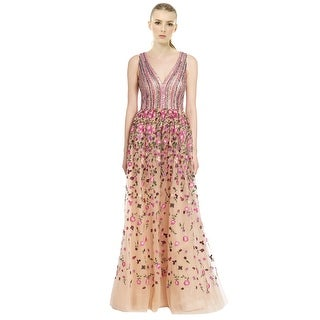 David Meister Embroidered A-Line Sleeveless Ball Evening Gown Dress