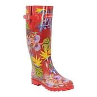 Anuschka Women's Tall Rain Boot Island Escape Printed Rubber
