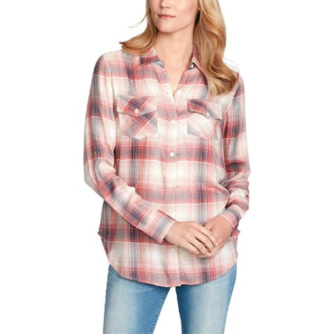 Jessica Simpson Womens Petunia Casual Top Button Front - M