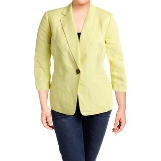 Kasper Womens Plus One-Button Blazer Linen Blend 3/4 Sleeves