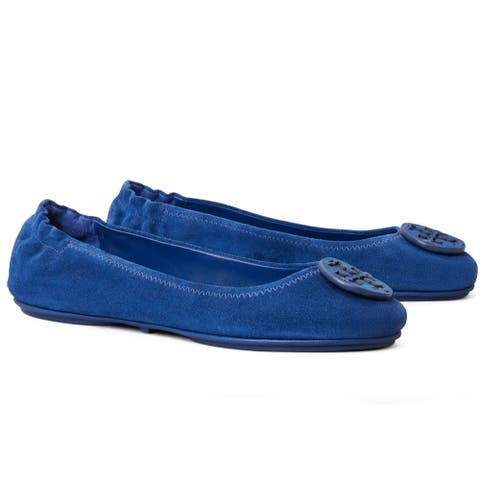 Tory Burch Womens Minnie Ballet Flats Bermuda Blue
