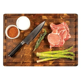 Zelancio Handcrafted Butcher Block With Drip Catch Grove I Thick Chopping Board I Highly Durable and Versatile Chopping Tray