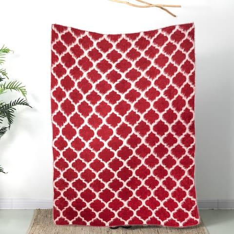 """Glitzhome 60""""L*50""""W Reversible Knitted Nylon Eyelash Yarn Throw Blanket 1250g"""