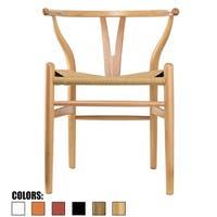 2xhome Wood Modern Style Armchair - Dining Room Chair with Natural Papercord Woven Seat