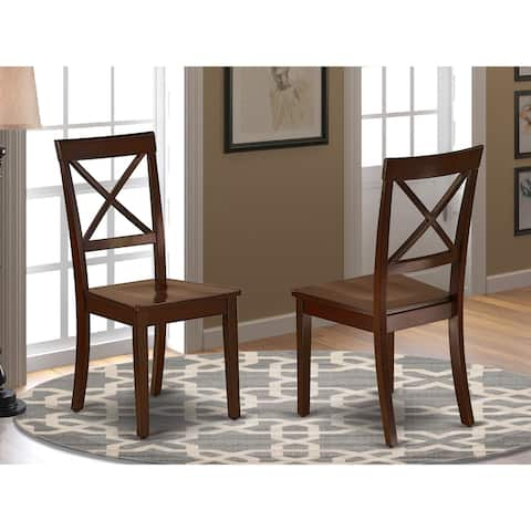 BOC-MAH-W Boston Chair Wood Seat in Black and Cherry Finish (Set of 2)