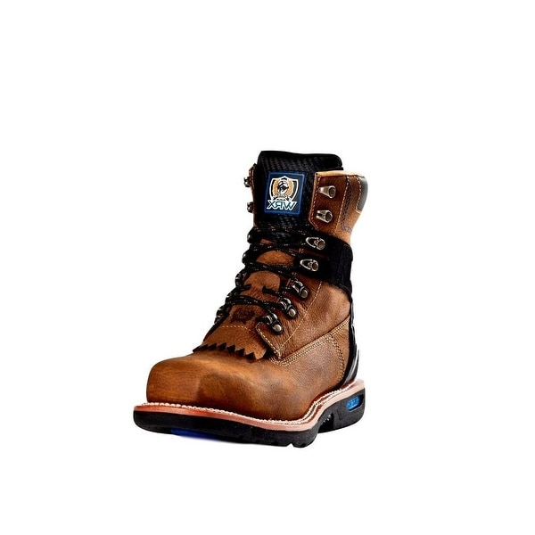 Cinch Work Boots Mens WRX Natural Welt Leather Walnut