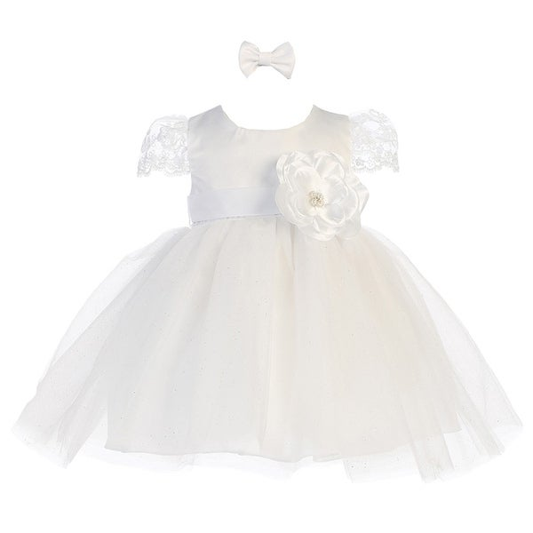 Baby Girls White Satin Floral Accented Glitter Tulle Flower Girl Dress