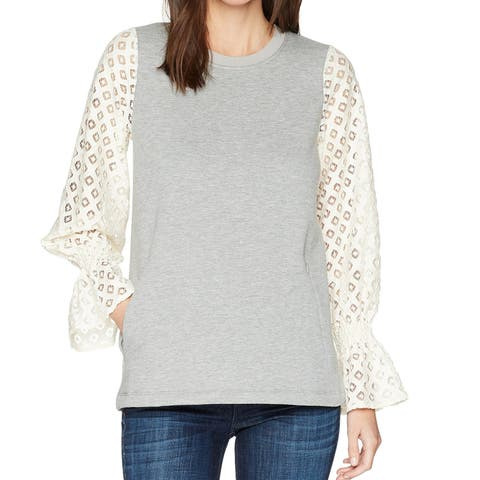 Kensie Gray Women's Size Medium M Lace Sleeve Pullover Sweater
