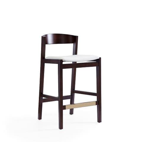 Manhattan Comfort Klismos 36.75 in. Dark Walnut Beech Wood Counter Height Bar Stool