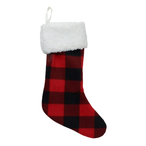 "18"" Black and Red Buffalo Plaid Christmas Stocking with Sherpa Cuff"