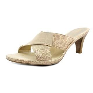 Aerosoles Love Powem Women  Open Toe Leather Gold Slides Sandal