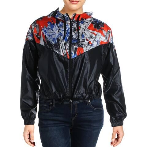 Nike Womens Plus Windrunner Athletic Jacket Floral Loose Fit - Black
