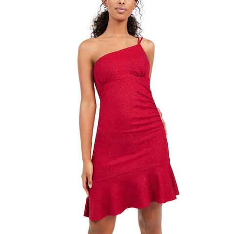 bebe Women's Dress Red Size Large L Sheath One Shoulder Glitter Flounce