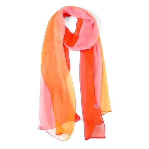 """Long Chiffon Lightweight Gradient Color Scarf For Women Red/Orange - 63""""x19.6"""""""
