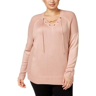 Calvin Klein Womens Plus Pullover Sweater Lace Up Grommet (Option: Black)