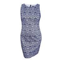 Jessica Simpson Women's Lace Sheath Dress (14, Navy/White) - Navy/White - 14