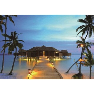 """LED Lighted Tropical Paradise Island Beach Scene Canvas Wall Art 15.75"""" x 23.5"""" - Blue"""